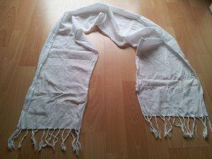 Schal Sommerschal weiß Fransen Baumwolle