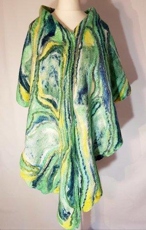 Schal Stola Unikat Merinowolle Seide grün gelb bunt Einzelstück neu