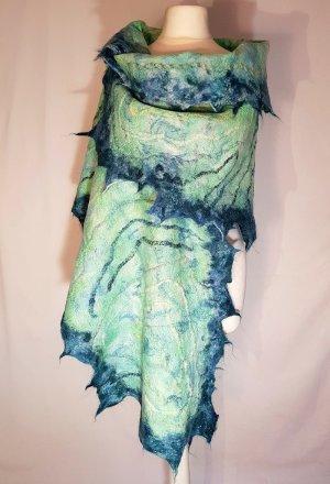 Schal Stola Unikat Merinowolle Seide helle dunkle grün blau Töne Einzelstück neu