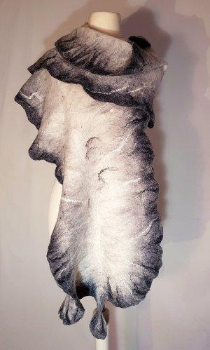 Schal Stola Unikat Merinowolle Seide schwarz weiss Einzelstück neu