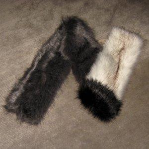 Schal · Teddy-Plüsch · Kunstpelz · Fake-Fur-Schal · grau-weiß · NEU