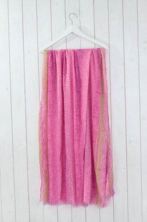 SCHAL TUCH Animalprint Streifen Pink Weiß Neon-Grün Fransen ca. 191x98