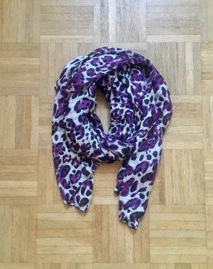Zijden sjaal donkerpaars-wit