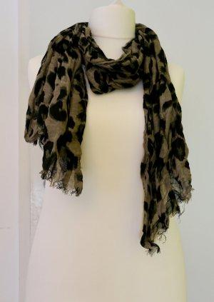 Schal/ Tuch aus Leinen in schwarz-beige-khaki, nur 1x getragen, Animalprint/Leo