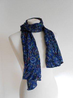 Schal - Tuch blau gemustert