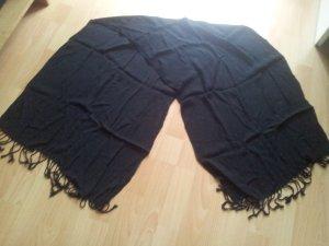 Schal Tuch dünn schwarz Fransen
