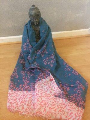 Schal Tuch edc pink blau weiß Vögel