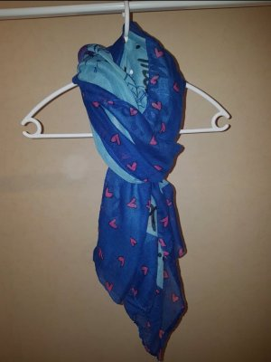 no name Silk Scarf azure-steel blue