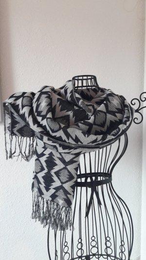 Schal Tuch Fransen schwarz weiß grau von Atmosphere