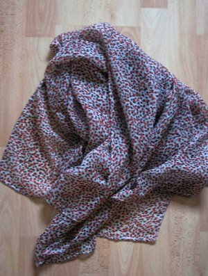 Schal - Tuch - gepunktet - weiß beige rot schwarz - wie neu!
