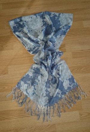 Schal Tuch grau blau Paisley beige creme TOP Zustand