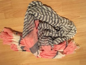 Schal / Tuch grau blau rose rosa weiß gestreift - wie NEU