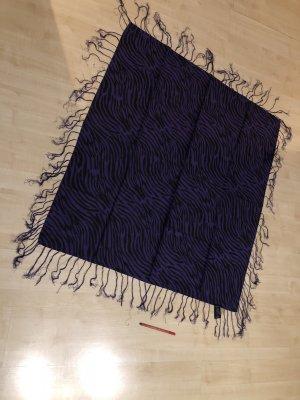 Schal/Tuch in lila/schwarz Zebra von H&M mit Fransen