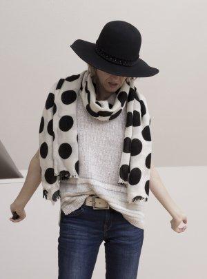 Schal Tuch mit großen Punkten, schwarz-weiß, schön kuschlig