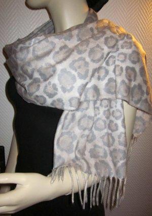 Schal Tuch Rundschal Schlauch Fransen Print Loop Leo Leopard h m beige grau creme wollig