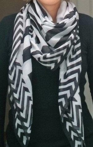 Schal Tuch schwarz weiß