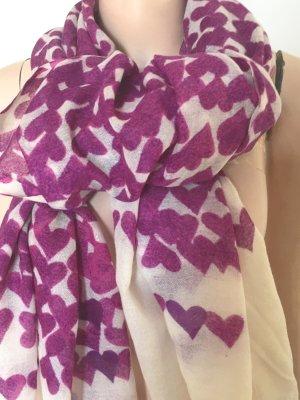 Sciarpa estiva bianco sporco-viola Lana