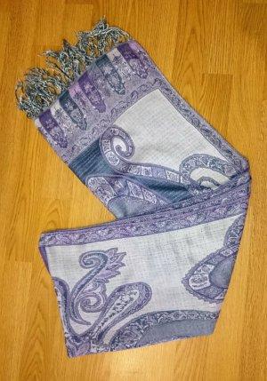 Schal Tuch Stola Fransenschal Lila violett creme Paisley mit Fransen