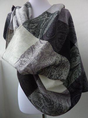 Schal Tuch Stola mit Paisley Muster schwarz grau beige kariert