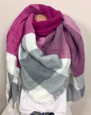 Schal Tuch XXL riesig Wollschal Cape pink grau Fransen