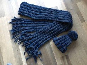 Schal und Mütze-dunkelblau