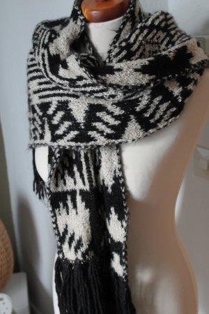 Urban Outfitters Écharpe à franges noir-blanc