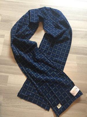 Herrlicher Écharpe tube bleu foncé-blanc coton