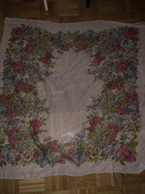 Schal, weiß mit Blumen