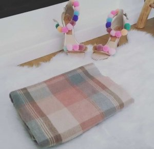 Schal XXL nude rosa mint beige blogger hipster boho Plaid Poncho