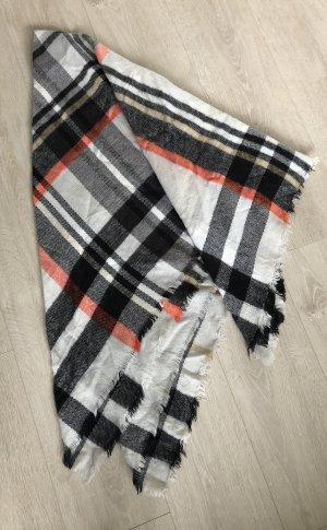 Schal, Zara, 140x140cm, schwarz/weiß/orange