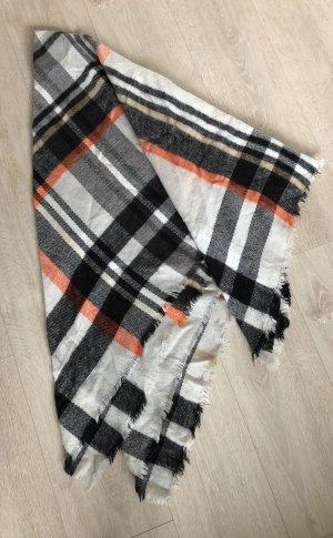 Schal, Zara, 140x140cm, weiß/schwarz/orange