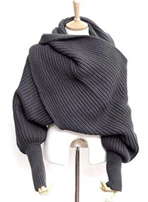 Wollen sjaal donkergrijs