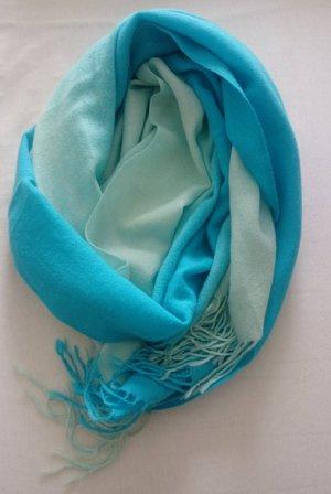 Schals Pashmina 2-farbig türkis/ khaki