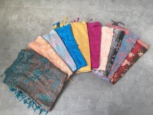 Écharpe à franges multicolore cachemire