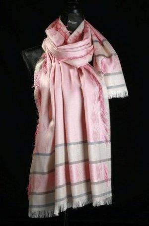 Schaltuch aus Baumwolle und Viskose in rose, grau, blau, beige gestreift