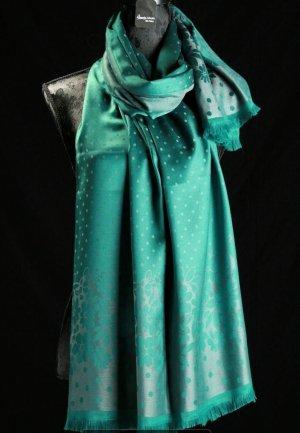 Châle au tricot vert forêt tissu mixte