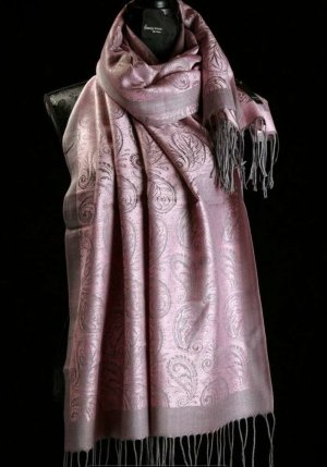 Schoudersjaal grijs-stoffig roze Katoen