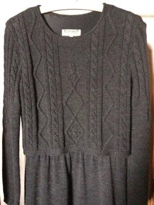 Robe en laine gris anthracite-noir laine mérinos