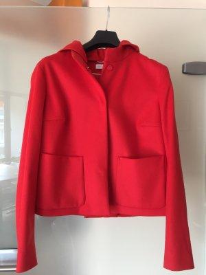 Schick-laessige rote Jacke Kaschmir/ Schurwolle mit Kapuze Gr. 38 von St. Emile
