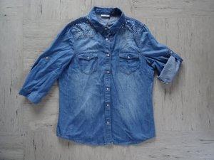 Schicke 3/4-Arm Jeansbluse mit Nieten