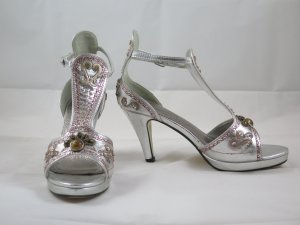 Andrea Conti T-Strap Sandals silver-colored leather