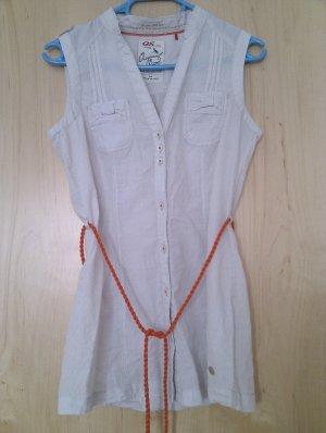 Schicke ärmellose grau-weiß gestreifte Bluse mit orangen Highlights