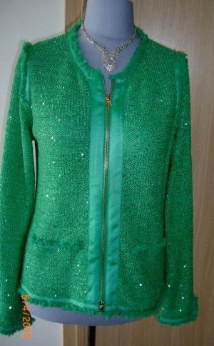 Schicke Apanage Jacke mit Paietten Gr 44 in einem super schönen Grün