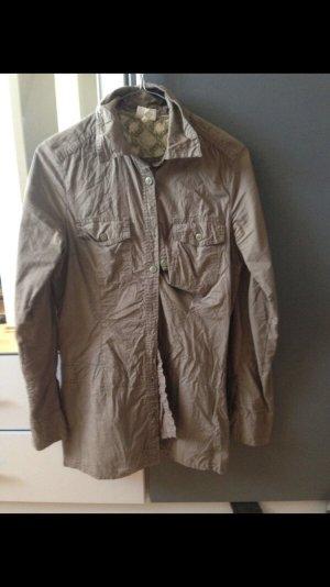 Schicke Bluse in grün/grau, Gr  S 34/36