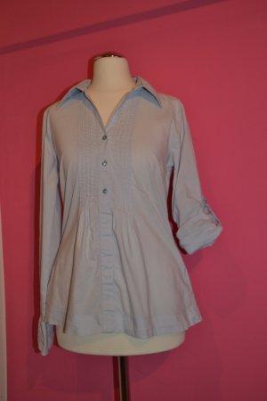 Schicke Bluse mit feinem Streifen-/Karomuster hellblauGr. 36