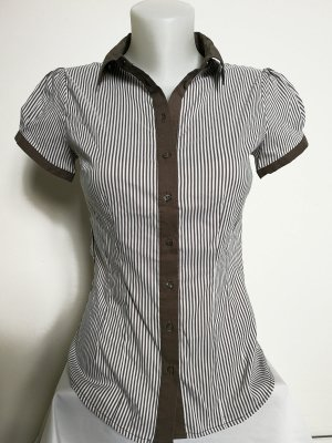 Orsay Short Sleeved Blouse grey brown-white