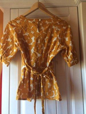 Schicke Bluse mit Retro Muster und Taillenband