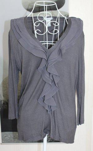 H&M Ruffled Blouse dark grey-grey