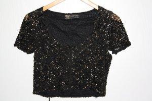 Schicke Bolerojacke schwarz mit Pailletten und Perlen von Zara
