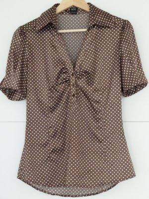 schicke Business-Bluse - braun mit Rauten-Muster - Größe 36 - Esprit